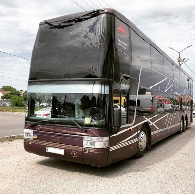 Double-decker bus hire VanHool with 89 seats. Bus hire with a driver in Kharkiv
